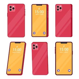 Coleção de smartphones de design plano