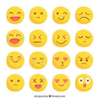 Coleção de smileys amarelos bonitos