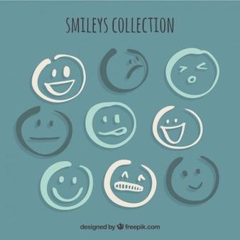 Coleção de smileys esboços