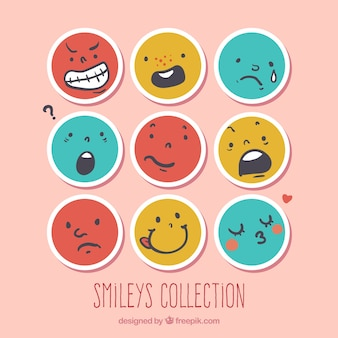 Coleção de smileys redondos