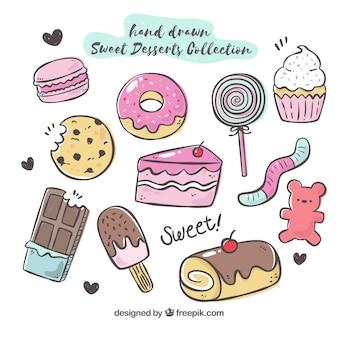 Coleção de sobremesas doce na mão desenhada estilo