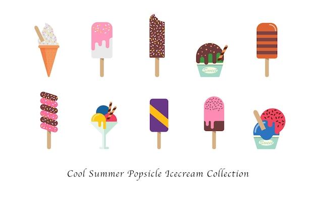 Coleção de sobremesas doces coloridas de sorvete de picolé legal de verão