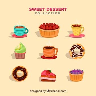 Coleção de sobremesas doces em estilo plano