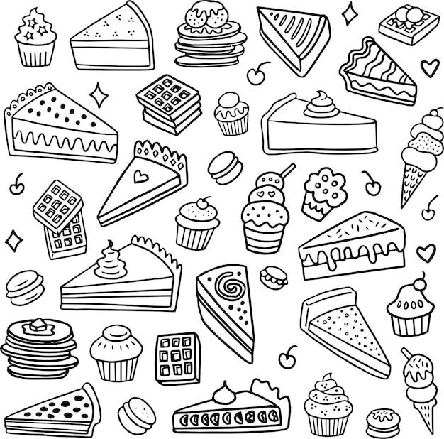 Coleção de sobremesas doodle