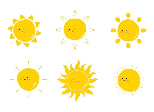 Coleção de sóis bonitos plana mão desenhada doodle ilustração. desenho de sol kawaii