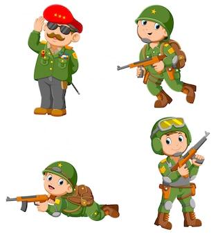 Coleção de soldado segurando rifle de assalto