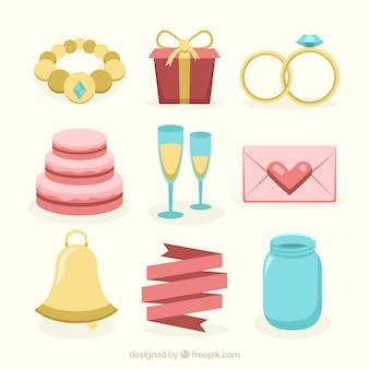 Coleção de solteira e de casamento objetos