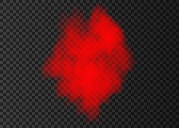 Coleção de sopro de fumaça vermelha isolada em fundo transparente. efeito especial de explosão de vapor. coluna de vetor realista de névoa de fogo ou textura de névoa.