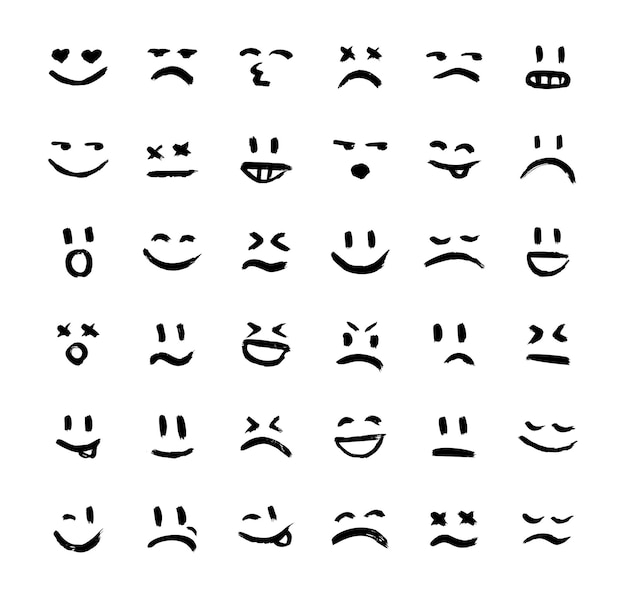 Coleção de sorrisos e expressões de humor Vetor Premium