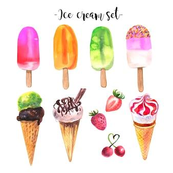 Coleção de sorvete aquarela