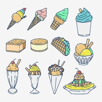 Coleção de sorvete de mão desenhada