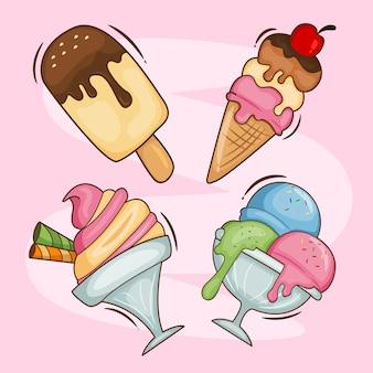 Coleção de sorvete doce derretido