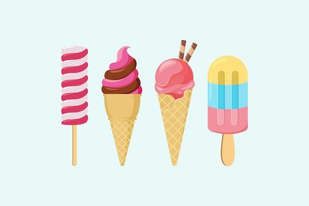 Coleção de sorvete, ilustrações vetoriais de sorvete isoladas em branco