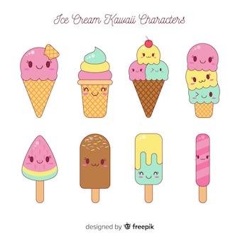 Coleção de sorvete kawaii