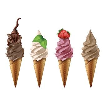 Coleção de sorvete no cone. isolado no fundo branco