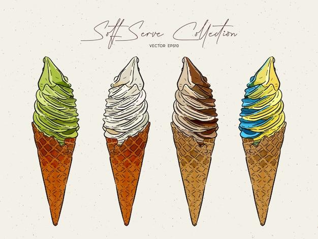 Coleção de sorvete soft serve esboço de desenho de mão