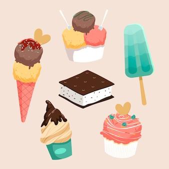 Coleção de sorvetes desenhados à mão