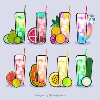 Coleção de sucos de frutas deliciosos
