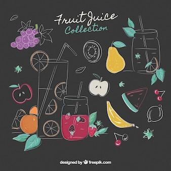 Coleção de sucos de frutas desenhados à mão