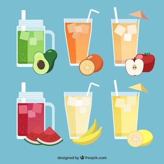 Coleção de sucos de frutas diferentes