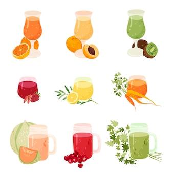 Coleção de sucos de frutas e vegetais