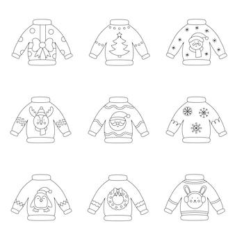 Coleção de suéteres de natal de vetor preto e branco.