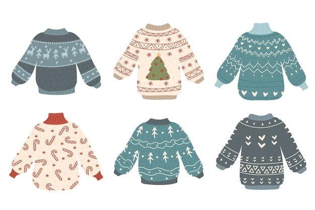 Coleção de suéteres de natal fofos e feios
