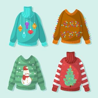 Coleção de suéteres feios desenhados à mão