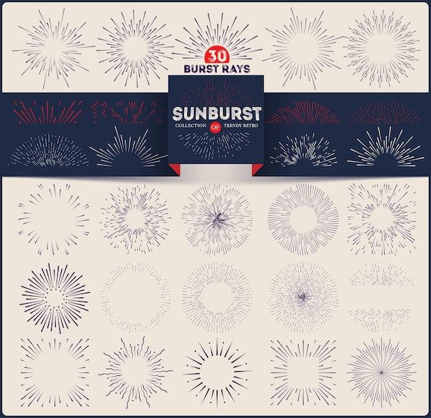 Coleção de sunburst retrô na moda. elementos de design de raios estourando