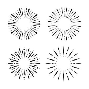 Coleção de sunbursts de gravura desenhada à mão