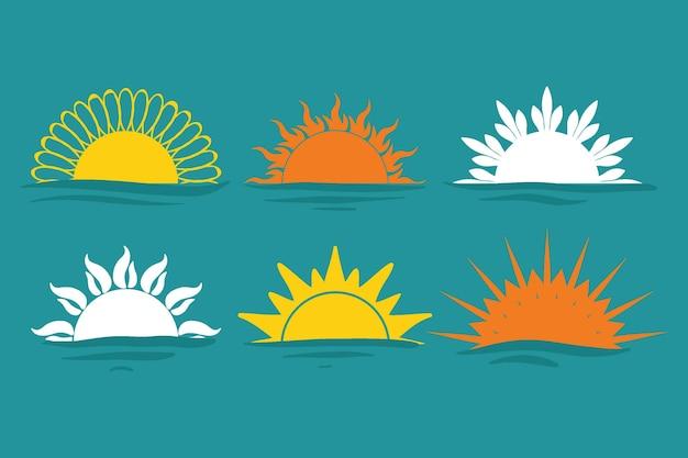 Coleção de sunbursts desenhada à mão