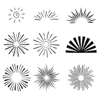 Coleção de sunbursts desenhados à mão