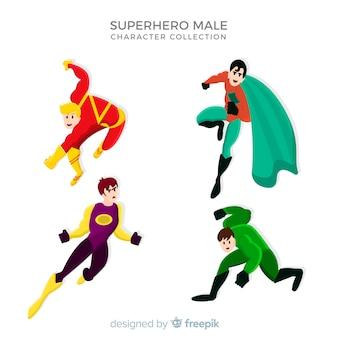 Coleção de super-herói de desenhos animados masculino