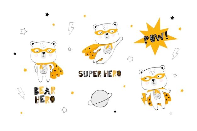 Coleção de super-herói de urso dos desenhos animados
