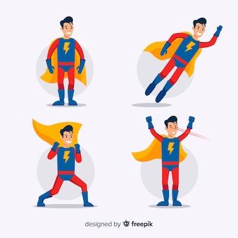 Coleção de super-herói dos desenhos animados masculino