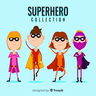 Coleção de super-herói feminino colorido com design plano