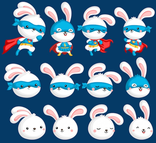 Coleção de super-heróis de coelho