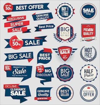 Coleção de super venda e preço distintivo e etiquetas