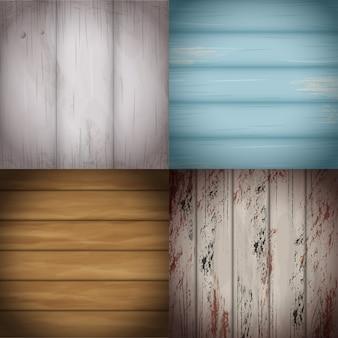 Coleção de superfícies de madeira coloridas