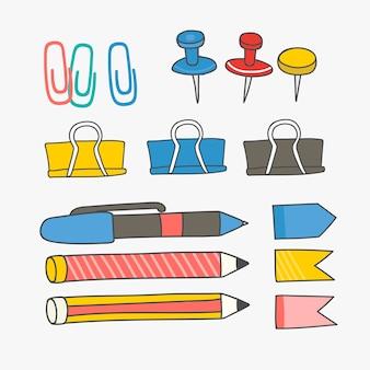 Coleção de suprimentos de papelaria colorida