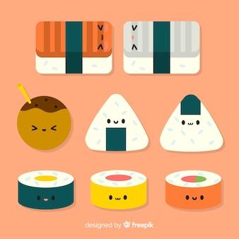 Coleção de sushi adorável plana