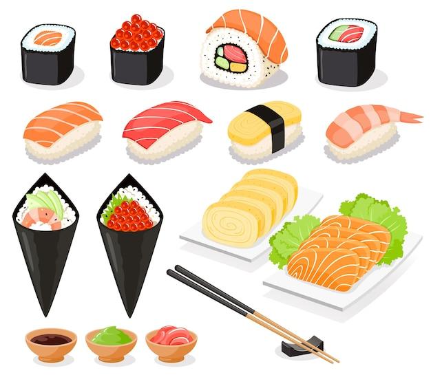 Coleção de sushi de ícones de comida asiática Vetor Premium