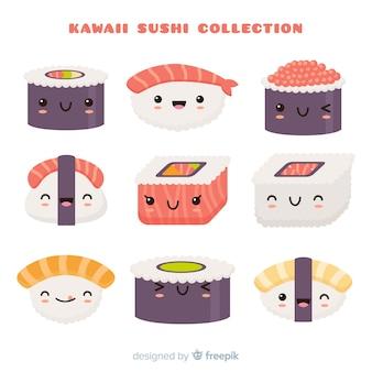 Coleção de sushi kawaii mão desenhada