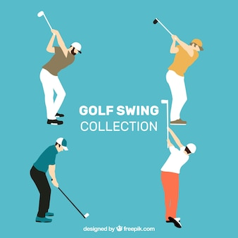 Coleção de swing de golfe com homem em estilo plano