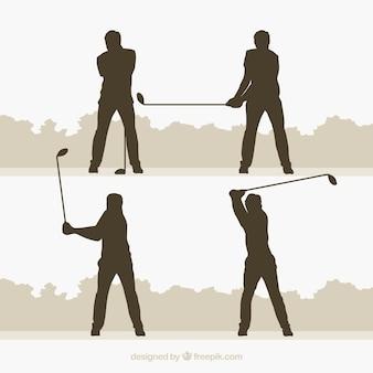 Coleção de swing de golfe com silhueta em estilo plano