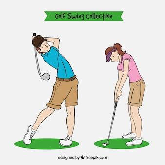 Coleção de swing de golfe em estilo desenhado à mão