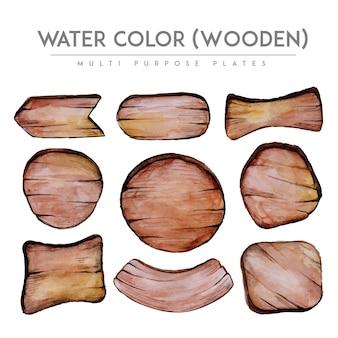 Coleção de tábuas de madeira da aguarela