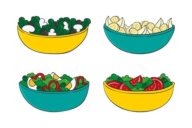 Coleção de taças de saladas e frutas saudáveis
