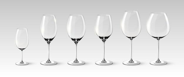 Coleção de taças de vinho vazias