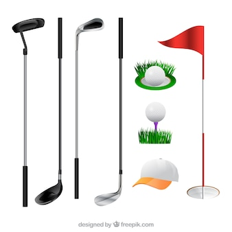 Coleção de tacos e elementos de golfe